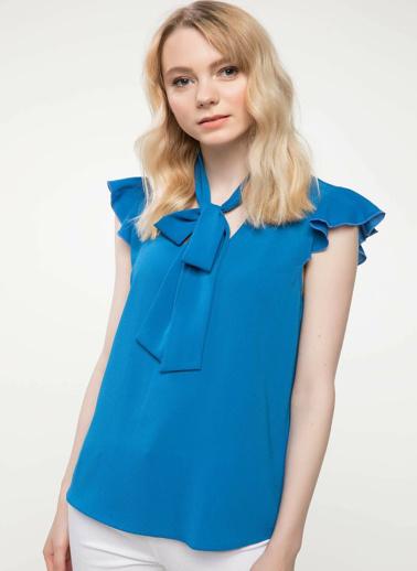 DeFacto Yakası Fular Detaylı Bluz Mavi